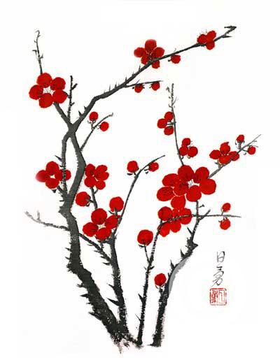 Chinese Brush Paintings by Dick Yat Ng - Koi fish, Cherry